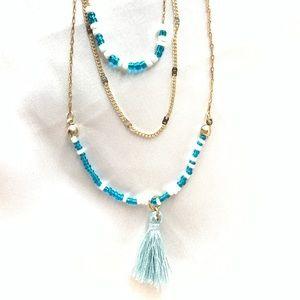 NEW‼️Charming Charlie gold+blue tassel necklace